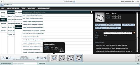 visualização de Grooveshark Lite