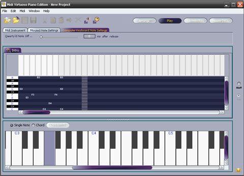 visualização de Midi Virtuoso Piano Edition