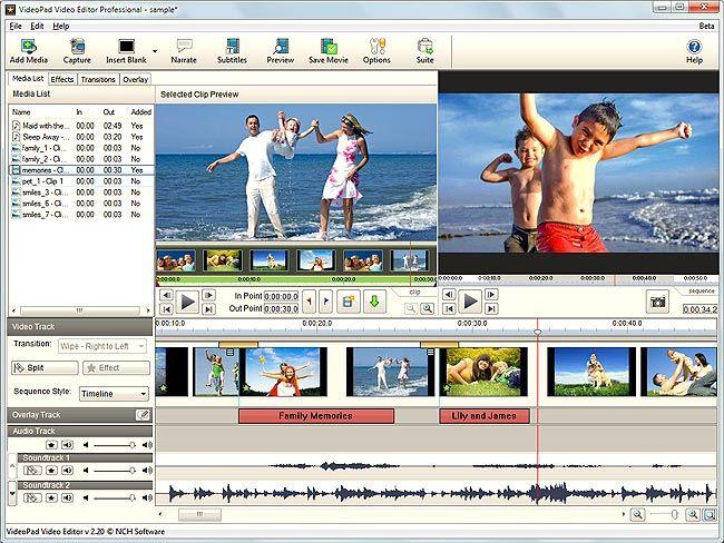 visualização de VideoPad