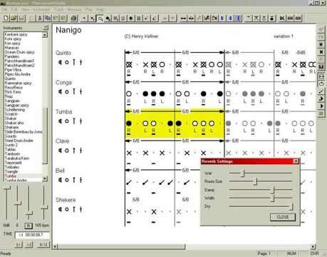 visualização de Percussion Studio