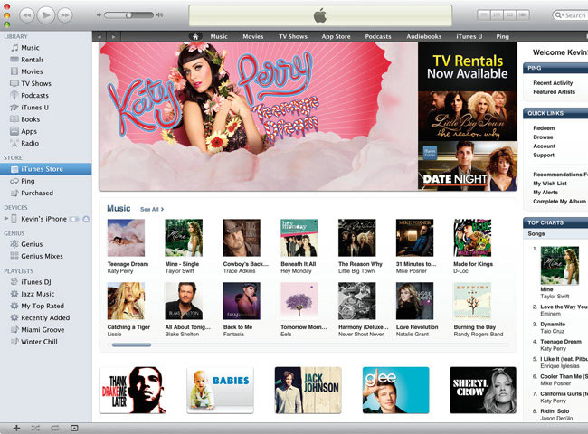 visualização de iTunes