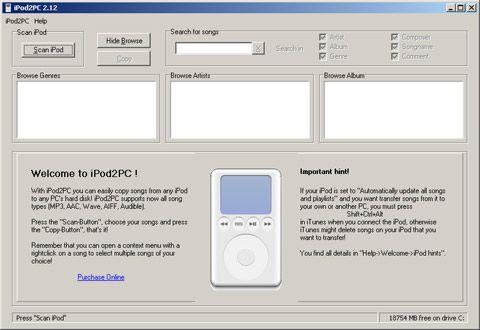 visualização de iPod2PC