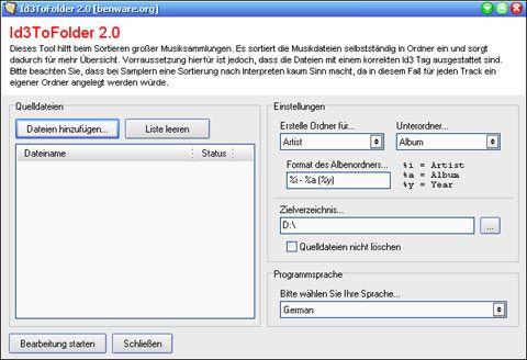 visualização de Id3ToFolder