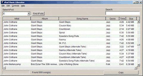 visualização de iPod Music Liberator