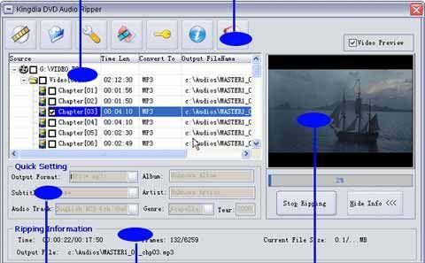 visualização de Kingdia DVD Audio Ripper