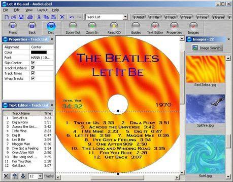 visualização de AudioLabel CD Labeler