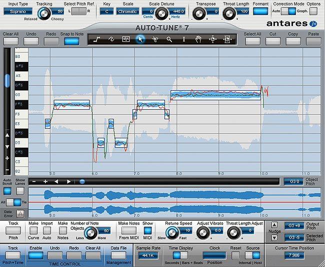 visualização de Antares Auto-Tune