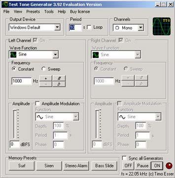 visualização de Test Tone Generator