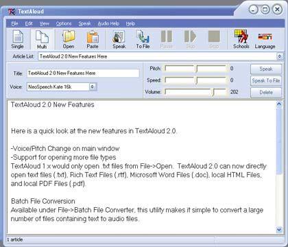visualização de TextAloud