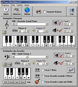 visualização de Piano Eletrônico